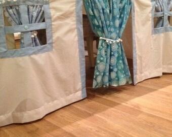 Winter princess themed Fabric Playhouse , Tablecloth Playhouse, tablecloth play house, play tent, outdoor playhouse, indoor playhouse
