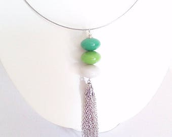 Pendant necklace, 'pebble' shades of blue green to white '