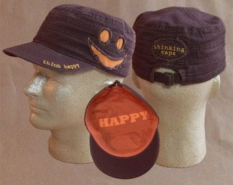 Think HAPPY! 100% Organic Cotton Corps-Style Thinking Cap