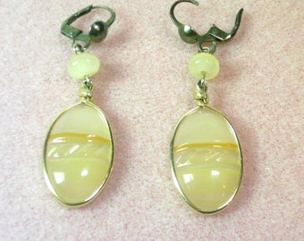 Hand Crafted Carved Yellow Onyx Drop Earrings - No. 1647