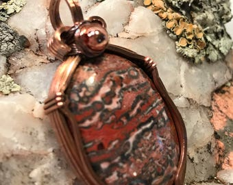 A0053 Multi Color Jasper Gemstone in Hand Crafted Cage