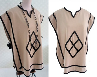 Ethnic style vintage tunic. Apron tunic. Camel and brown cotton. 70s clothing.