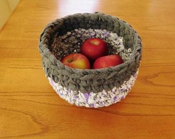 Crochet Rag  Bowl-Crocheted Rag Bowl-Repurposed -EcoFriendly-Purple, White, Gray Rag Bowl-Crochet Bowl-Crochet Basket-Grey Bowl-Recycled
