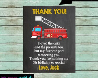 Fire Truck Engine Birthday Party Thank You Note Cards ~ We Print and Mail to You