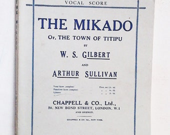Original Vintage Sheet Music. The Mikado . The Town of Titipu.1911. Antique Paper Ephemera. Grey.