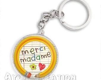 Cabochons glass 25mm Madame _Belgique key #CP02