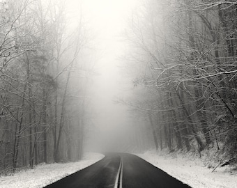 winter photography, snow, winter landscape, Appalachia, roads, black and white photography, snow photography, fog, foggy, Foothills Parkway