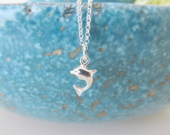 Sterling silver dolphin necklace, dolphin necklace (last ones!)