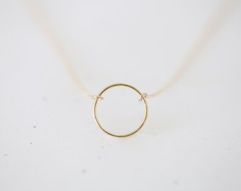 Gold Circle Necklace - small thin and smooth gold circle on 14k gold filled chain, delicate and simple modern everyday necklace
