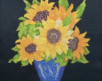 Completed cross stitch Sunflowers Finished embroidery Handmade Needlework Flowers Wall art Home decor Gardener Summer Yellow Stitchery
