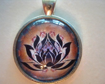 Yoga Necklace:  Lotus on Mandala Necklace (020)