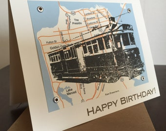 San Francisco Trolley and Map Birthday Card - Gocco Screen-Printed Card