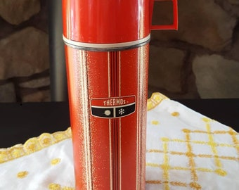 Metal Thermos, Vintage King Seeley Thermos, 1 Quart, 1969, Thermos, Thermos Bottle, Red Thermos, Drinkware, Soup Thermos, Metal Water Bottle