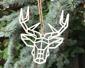 White Geometric Stag Head | Dear | Acrylic | Perspex | Plastic | Laser Cut | Christmas | Tree Decoration | Ornament | Ornaments