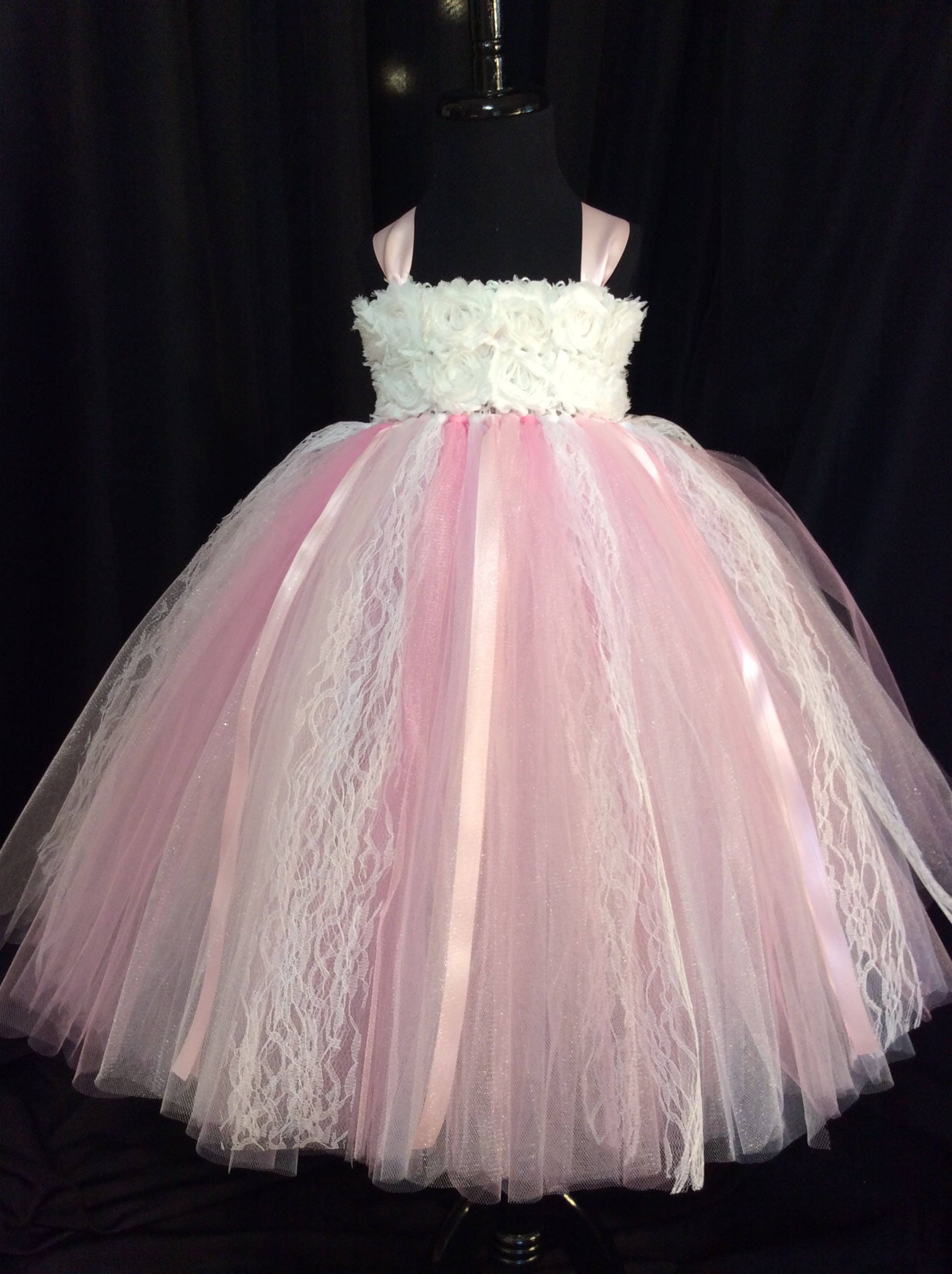 Pink And White Lace Flower Girl Dress Tulle Flower Girl Dress Tutu