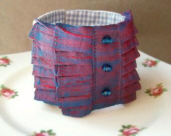 Fabric Cuff Bracelet For Women - Jewelry Jewellery Cobalt Blue Red Ruffled - Sari Silk Vintage