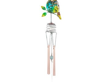 Glass & Metal Owl Windchime