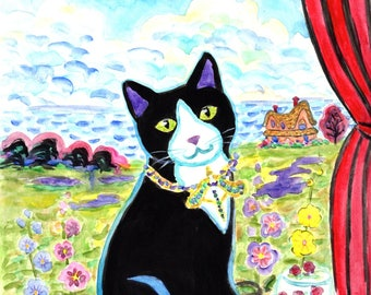 ORIGINAL PAINTING, Black Kitty with Hollyhocks outside Her Sunny Window and Lalique Necklace ready For Cake, by DM Laughlin