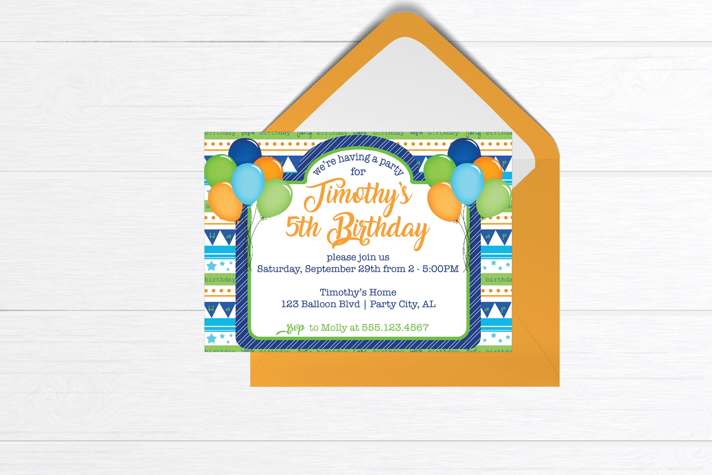 Birthday Party Invitation Balloons Invite Boy