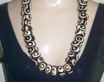 Vintage African Bead Necklace Black and White Circles Mud Cloth design 30 inches