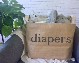 diaper storage basket// nursery storage/ baby shower gift bag/ burlap bin