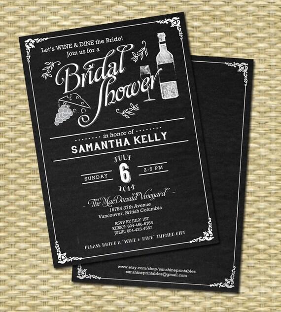 Wine Bridal Shower Invitation Chalkboard Bridal Shower Wine
