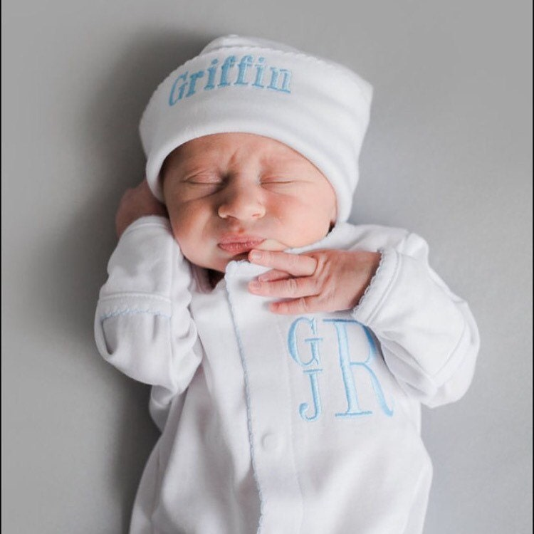 Baby boy coming home outfit monogrammed footie personalized zoom negle Gallery