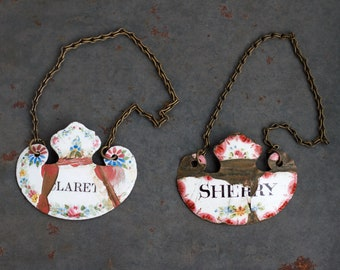 Claret and Sherry - Antique Decanter Tags or Bottle Labels - Set of 2 - Enamel