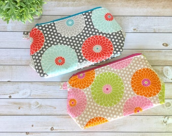 Floral Chrysanthemum Cosmetic Bag Zipper Pouch Makeup Bag, Makeup Zipper Pouch, Cosmetic Pouch Pencil Pouch
