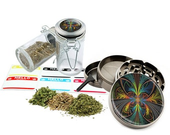 "Psychedelic - 2.5"" Zinc Alloy Grinder & 75ml Locking Top Glass Jar Combo Gift Set Item # 110514-0035"