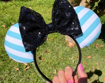 Baby Blue and White Striped Mouse with black bow