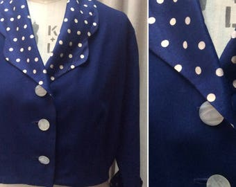 Chic Vintage 1950s Navy Jacket with Silk Polka Dot trim   UK Size 16  Original Vintage Fifties 50's
