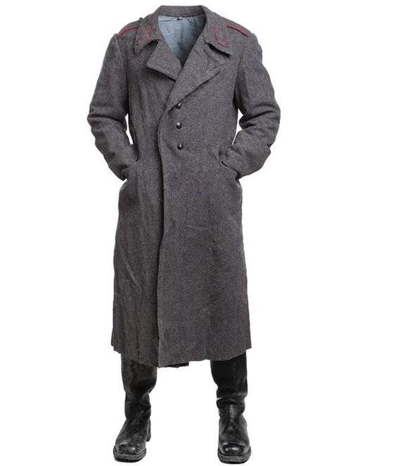 Rare military greatcoat officer totalitarian communist Bulgaria long trench coat,military overcoat