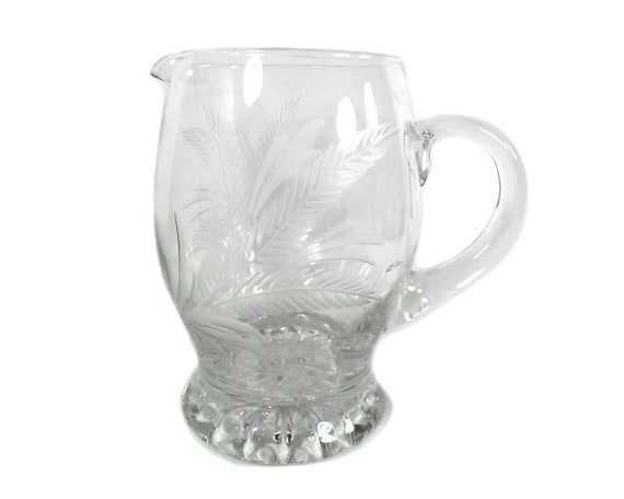 English Glass Jug with Etched Fern Leaf Fronds