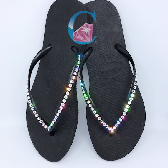 Thin SWAROVSKI® 1 Crystal Flip Row Bling Black Havaianas Flops Strap Covered AB In TfWwUqRwS
