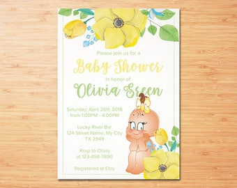 Girl Baby Shower Invitation, It's a Girl, Baby Shower Invitation, Digital File