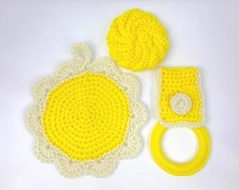Crochet hot pads, kitchen towelholder, kitchen scrubby, round, kitchen potholder, handmade, hanging, acrylic yarn, yellow