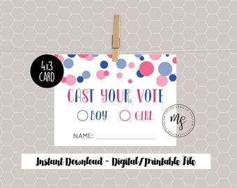 DIY Printable   Gender Reveal Voting Station   Girl or Boy   Voting Cards   Voting Signs - Instant Download
