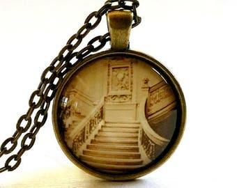 Titanic Necklace | Glass Pendant | Titanic Photo | Titanic Stairs | Free Gift Box | Gothic Jewelry | Halloween Necklace