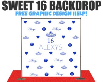 Sweet 16 backdrop Custom event Step and Repeat Backdrop, Birthday photo backdrop, Sweet 16 banner Party, Red Carpet, Photography Backdrop,