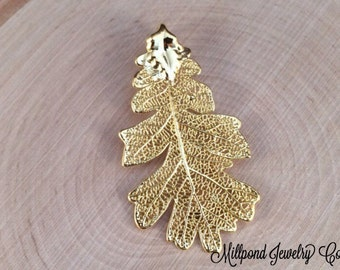 Oak Leaf Pendant, Gold Dipped Oak Leaf Pendant, Gold Oak Leaf, Leaf Pendant, Nature Pendant, PG2904