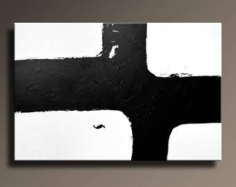 Large ABSTRACT PAINTING Black White Gray Painting Original Canvas Art Contemporary Modern Art 48x32 wall decor #40WBi2