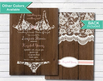 Rustic lingerie shower invitation. Rustic wood and lace.lingerie shower.printable digital invite . L002