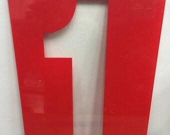 Vintage Red clear plastic number 1 or 1. – Plexiglas number -  gas station number – large plastic number – wedding number