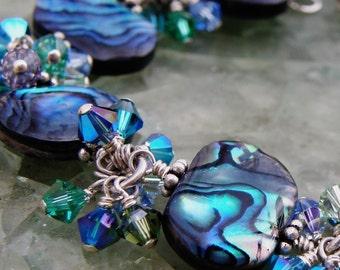 Abalone Bracelet, Shell, Sterling Silver, Swarovski Crystals, Teal Blue Green, Paua Beach Wedding, Exotic Handmade Jewelry