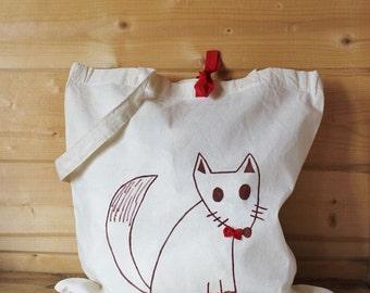 Cloth bag, illustrated bag, bag, fox bag, reusable bag, shopping bag, fox bag, cotton bag, mother's day.
