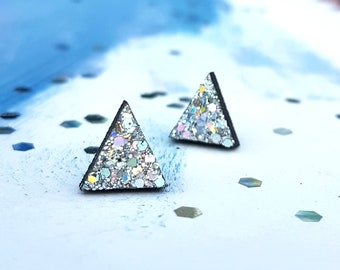 Little Triangle Geometric Stud Earrings with Silver Rainbow Glitter