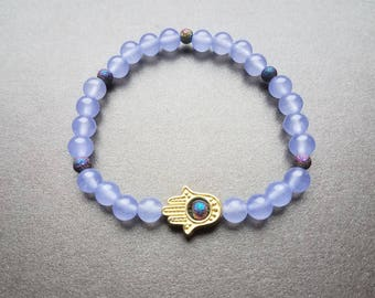 Purple Quartzite Hand of Hamsa Bracelet