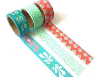 Set of 3 Washi Tapes Mint / Coral / Turqoise / Flowers