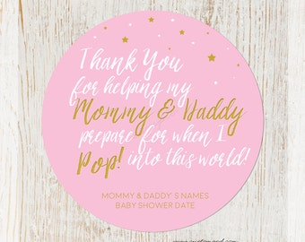 Baby Shower Ready To Pop Stickers for Girl, Baby Shower Sticker, Popcorn Favor Stickers, Personalized Shower Stickers for Mother To Me, Mom